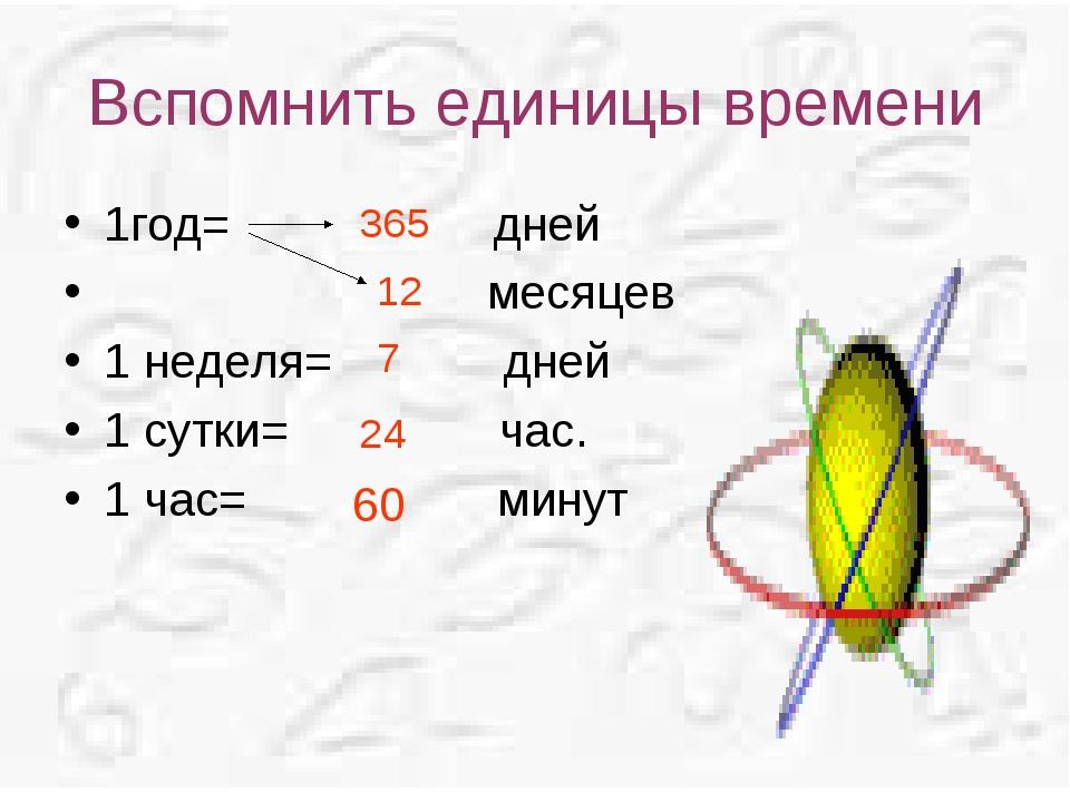 Вспомнить единицы времени 1год= дней месяцев 1 неделя= дней 1 сутки= час. 1 ч...