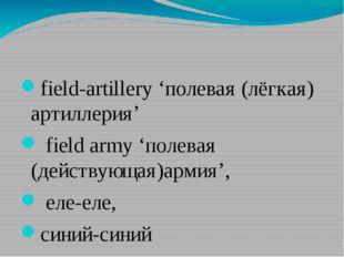field-artillery'полевая (лёгкая) артиллерия' field army'полевая (действую