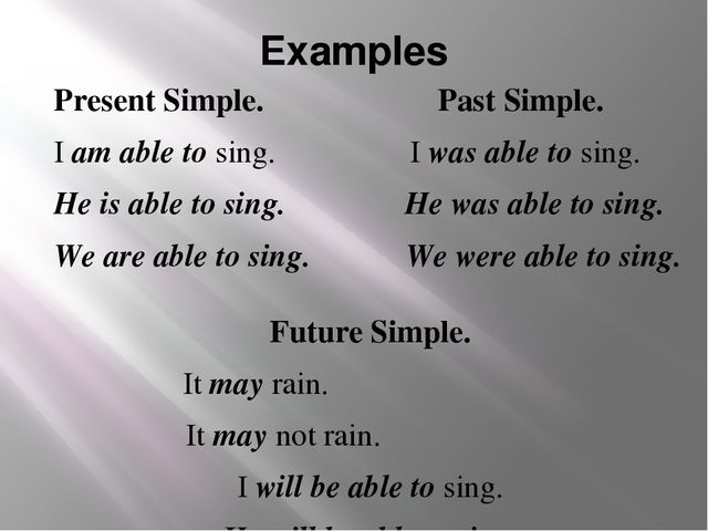 Examples Present Simple. Past Simple. I am able to sing. I was able to sing....