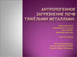 Работу выполнили обучающиеся 11 А класса МОУ СШ №81: Цымбалова Кристина , Сав