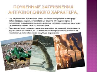 Под загрязнением окружающей среды понимают поступление в биосферу любых тверд