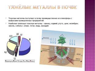 Тяжелые металлы поступают в почву преимущественно из атмосферы с выбросами пр