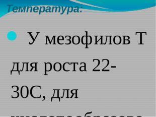 Температура: У мезофилов Т для роста 22-30С, для кислотообразования 42С. У те