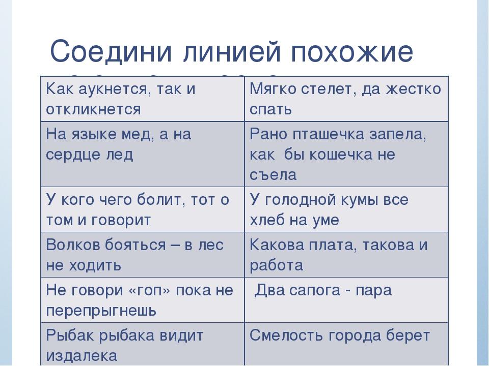 Соедини линией похожие по смыслу пословицы Как аукнется, так и откликнется М...