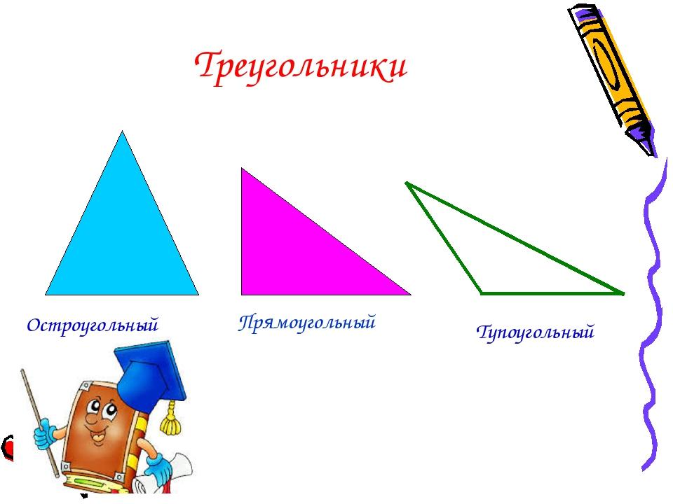 Треугольники Остроугольный Прямоугольный Тупоугольный
