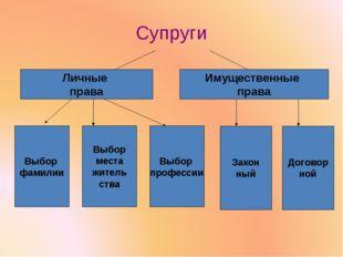 Супруги Личные права Имущественные права Выбор фамилии Выбор места житель ств