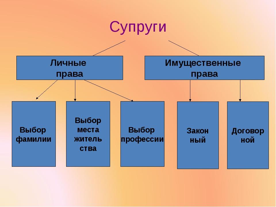Супруги Личные права Имущественные права Выбор фамилии Выбор места житель ств...