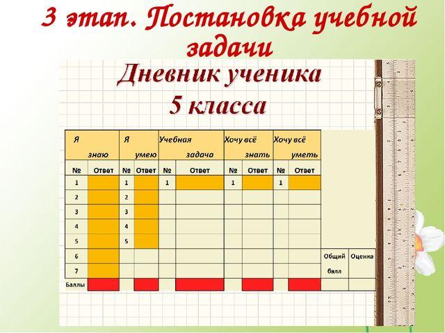 3 этап. Постановка учебной задачи