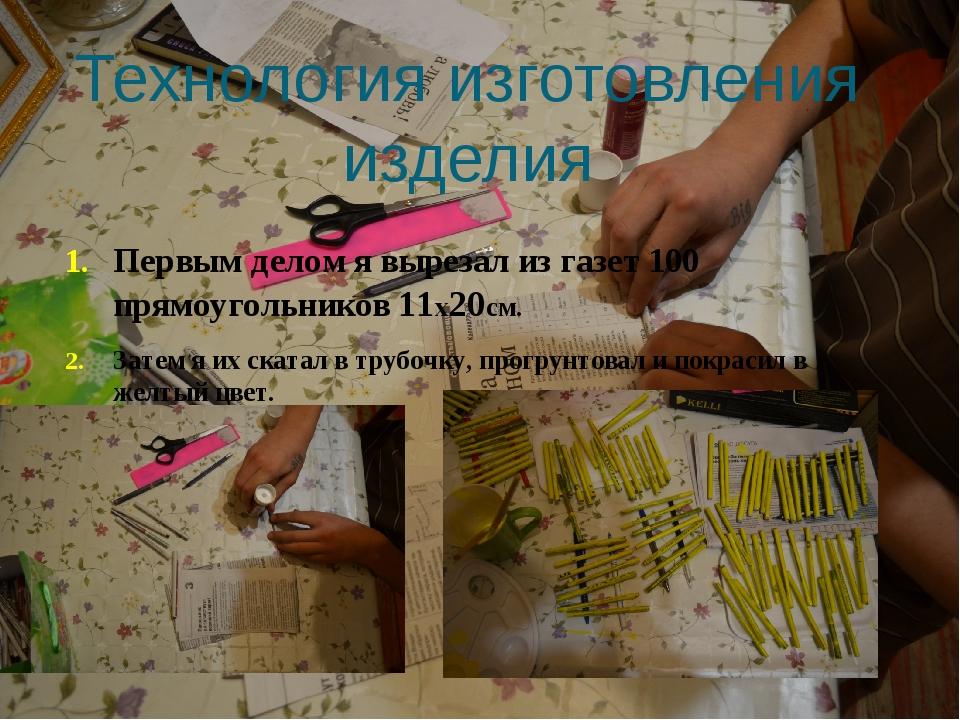 Технология изготовления изделия Первым делом я вырезал из газет 100 прямоугол...