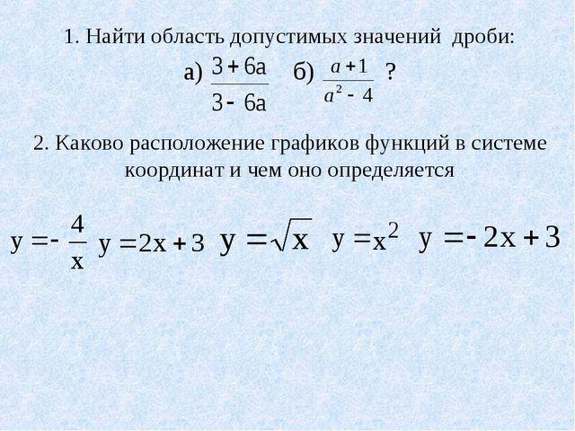 1. Найти область допустимых значений дроби: а) б) ? 2. Каково расположение г...