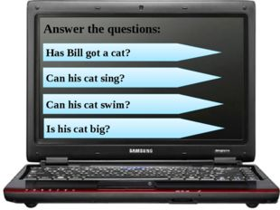 Can his cat sing? Can his cat swim? Has Bill got a cat? Answer the questions: