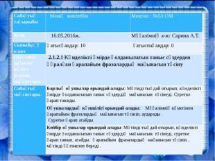 Сабақтың тақырыбы Менің мектебім Мектеп : №53 ОМ Күні 16.05.2016ж. Мұғалімні