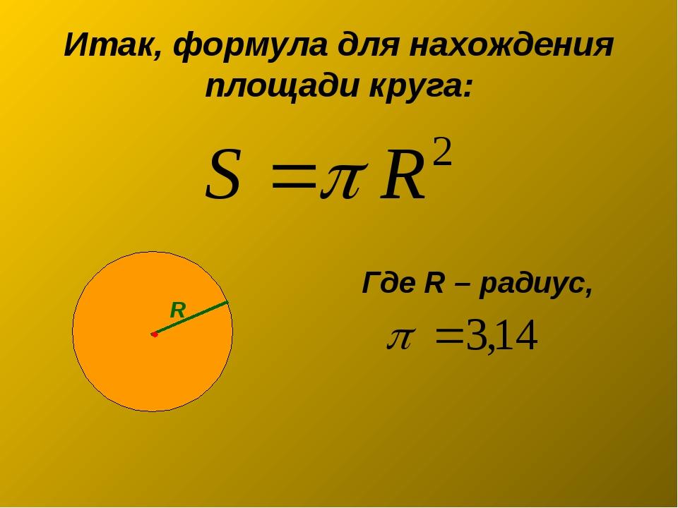 Итак, формула для нахождения площади круга: Где R – радиус, R