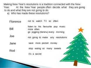 Making New Year's resolutions is a tradition connected with the New Year. At