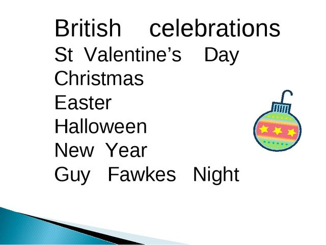 British celebrations St Valentine's Day Christmas Easter Halloween New Year G...