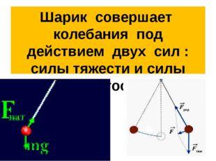 Шарик совершает колебания под действием двух сил : силы тяжести и силы упруго