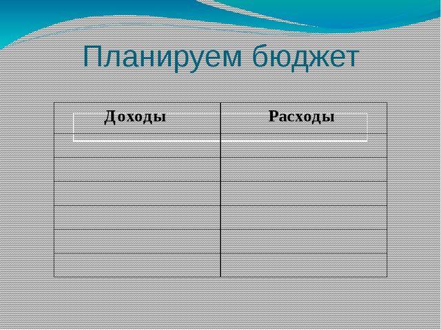 Планируем бюджет Доходы Расходы