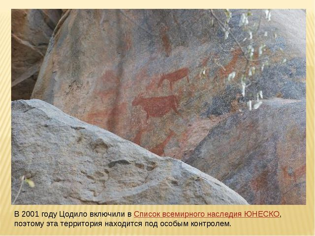 В 2001 году Цодило включили вСписок всемирного наследия ЮНЕСКО, поэтому эта...