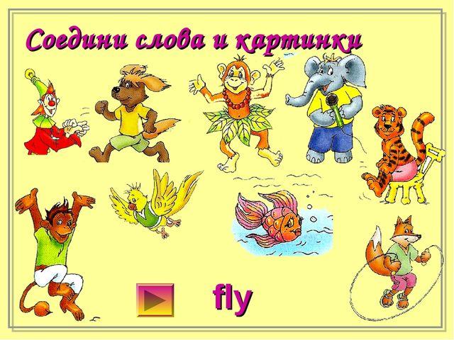 Соедини слова и картинки fly