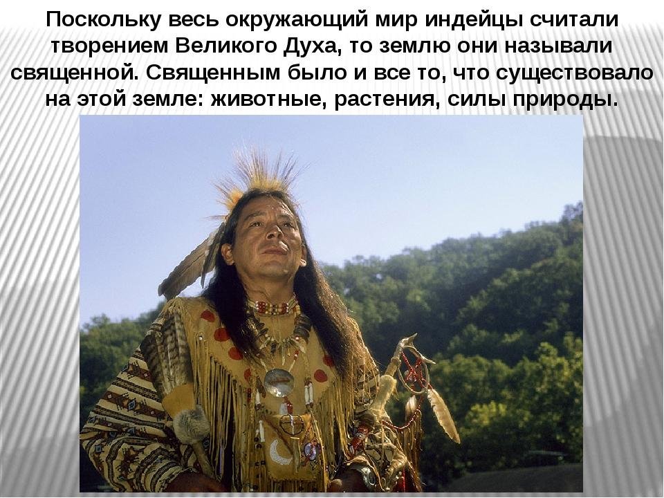 Поскольку весь окружающий мир индейцы считали творением Великого Духа, то зем...
