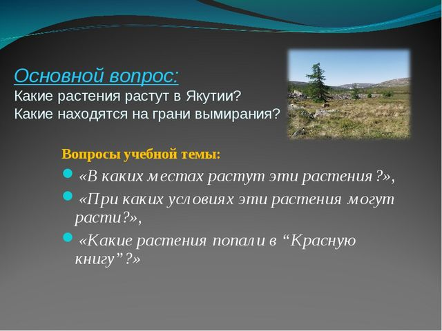 Основной вопрос: Какие растения растут в Якутии? Какие находятся на грани вым...
