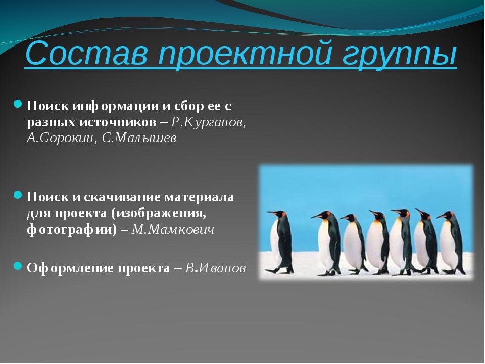 Состав проектной группы Поиск информации и сбор ее с разных источников – Р.Ку...