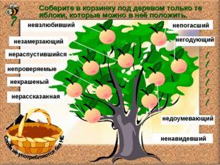 Соберите в корзинку под деревом только те яблоки, которые можно в неё положит