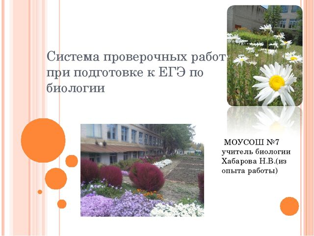 Система проверочных работ при подготовке к ЕГЭ по биологии МОУСОШ №7 учитель...