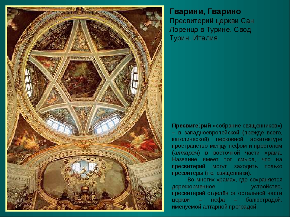 Гварини, Гварино Пресвитерий церкви Сан Лоренцо в Турине. Свод Турин, Италия...