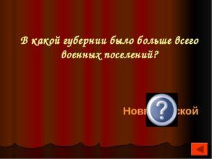 В какой губернии было больше всего военных поселений? Новгородской