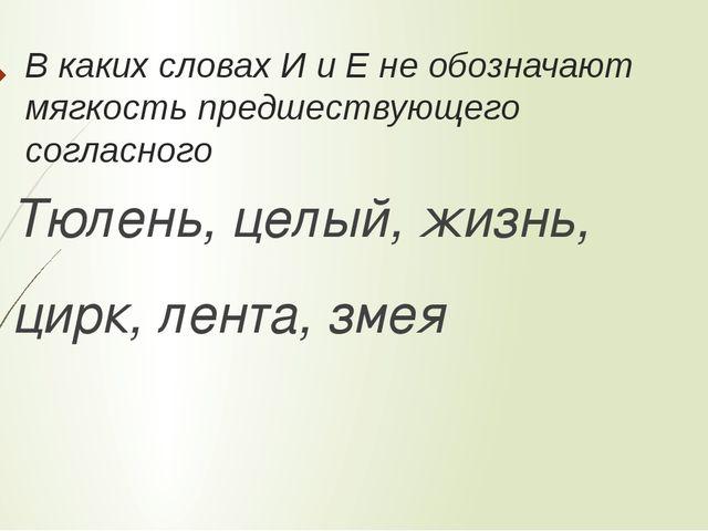 В каких словах И и Е не обозначают мягкость предшествующего согласного Тюлень...