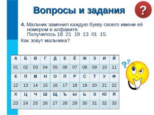 4. Мальчик заменил каждую букву своего имени её номером в алфавите. Получилос