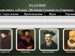ЗАДАНИЕ Заполнить таблицу «Великие гуманисты Европы» Эразм Роттердамский Тома