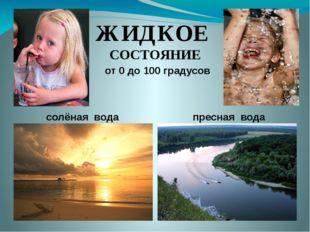 ЖИДКОЕ СОСТОЯНИЕ от 0 до 100 градусов солёная вода пресная вода
