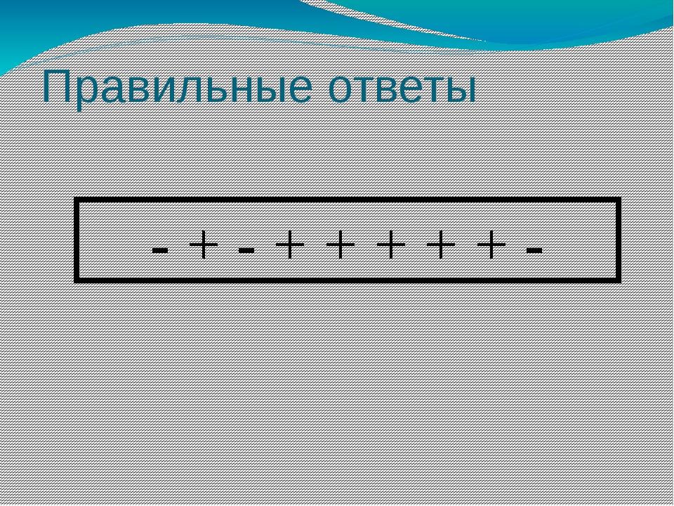 - + - + + + + + - Правильные ответы