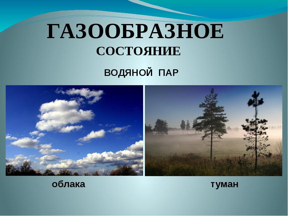 ГАЗООБРАЗНОЕ СОСТОЯНИЕ облака туман ВОДЯНОЙ ПАР