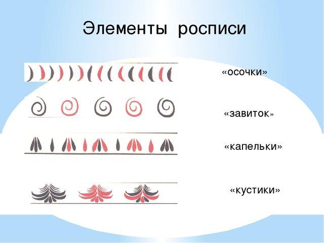 Элементы росписи «осочки» «завиток» «капельки» «кустики»