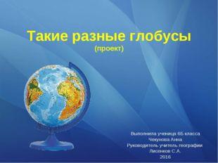 Такие разные глобусы (проект) Выполнила ученица 6Б класса Чекунова Анна Руков