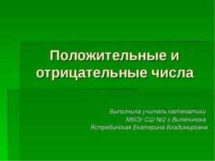 Положительные и отрицательные числа Выполнила учитель математики МБОУ СШ №2 г