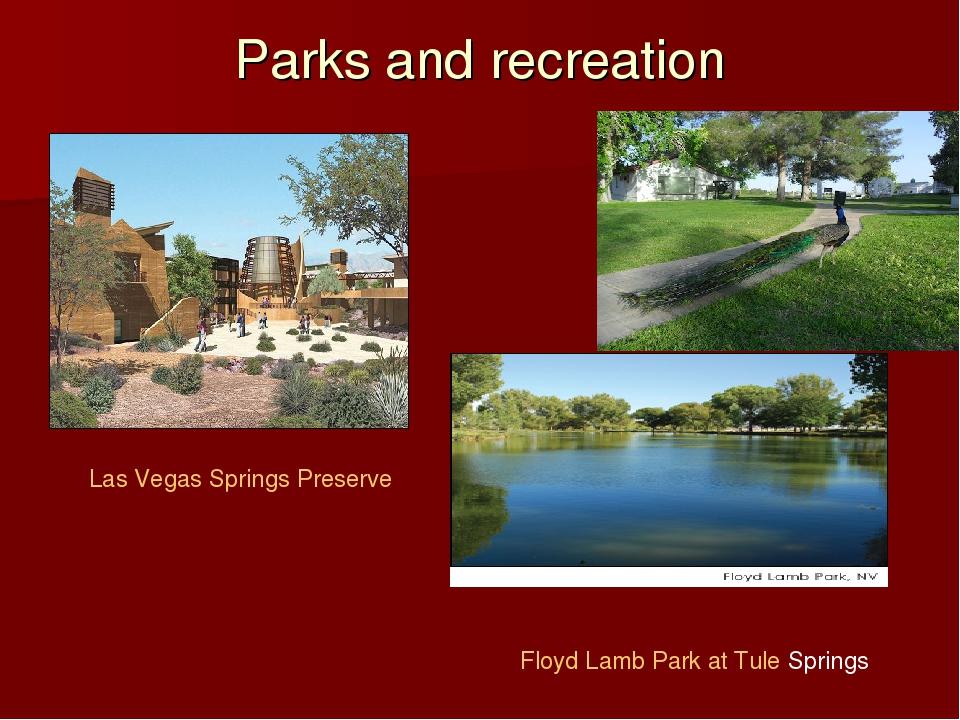 Parks and recreation Las Vegas Springs Preserve Floyd Lamb Park at Tule Springs