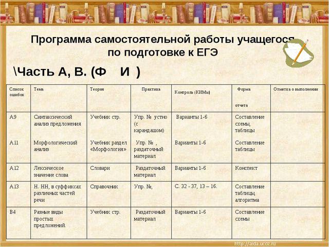 Программа самостоятельной работы учащегося по подготовке к ЕГЭ \Часть А, В. (...