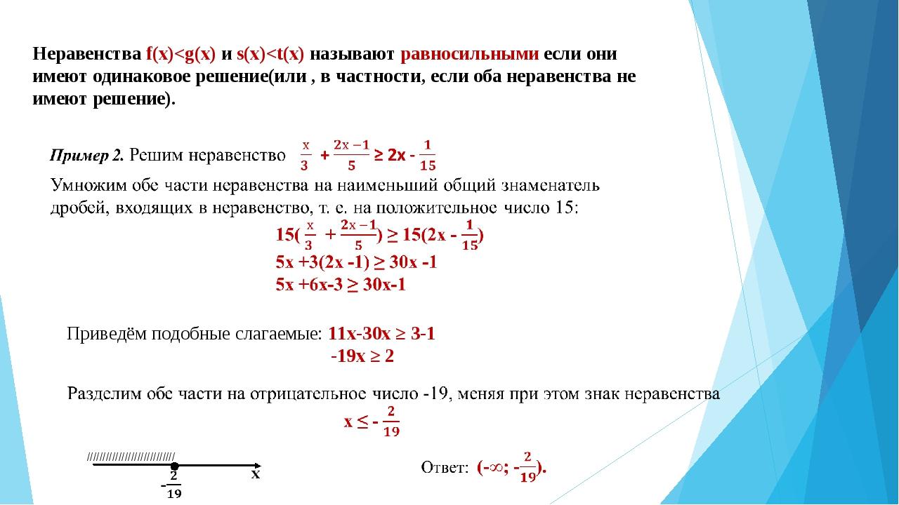 Неравенства f(x)