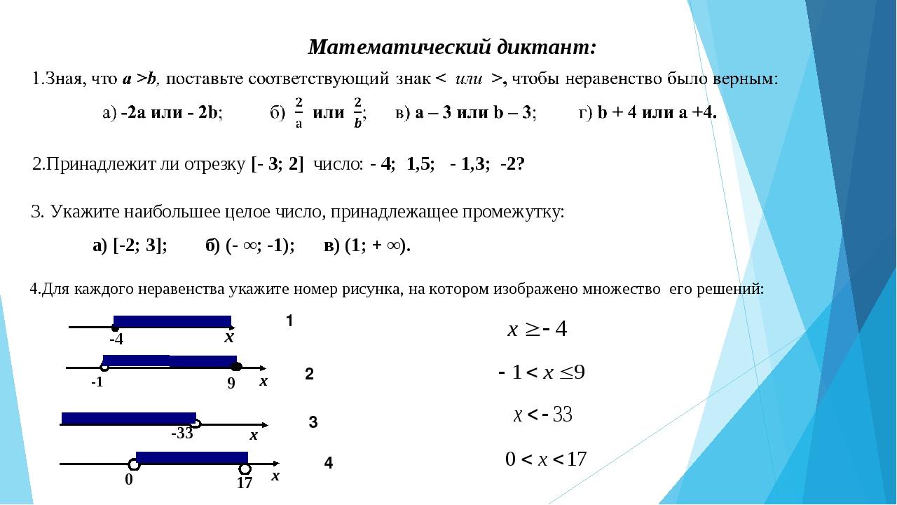 Математический диктант: 2.Принадлежит ли отрезку [- 3; 2] число: - 4; 1,5; -...
