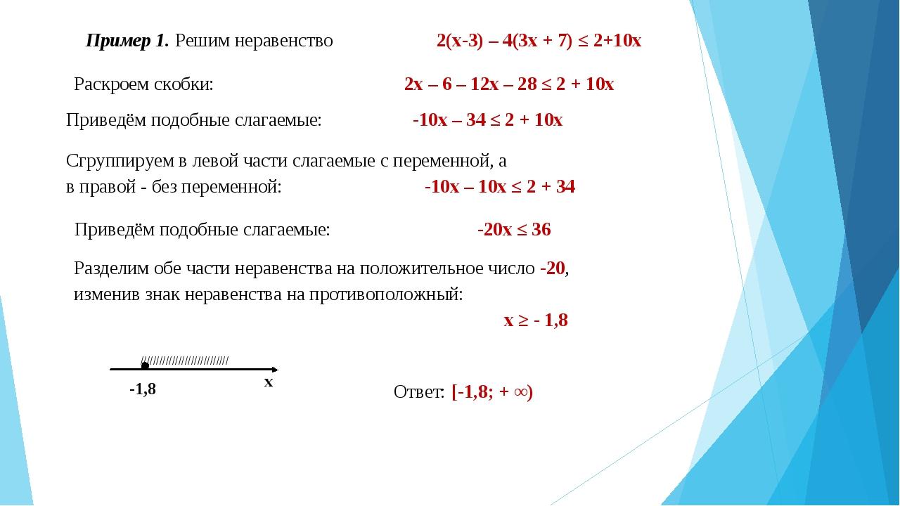 Пример 1. Решим неравенство 2(х-3) – 4(3х + 7) ≤ 2+10х Раскроем скобки: 2х –...