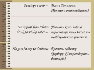 Penelope's web – To appeal from Philipdrink to Philip sober – (Togive) a sop