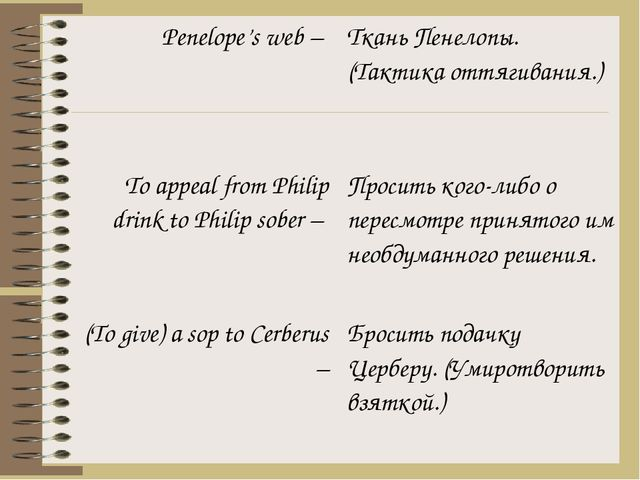 Penelope's web – To appeal from Philipdrink to Philip sober – (Togive) a sop...