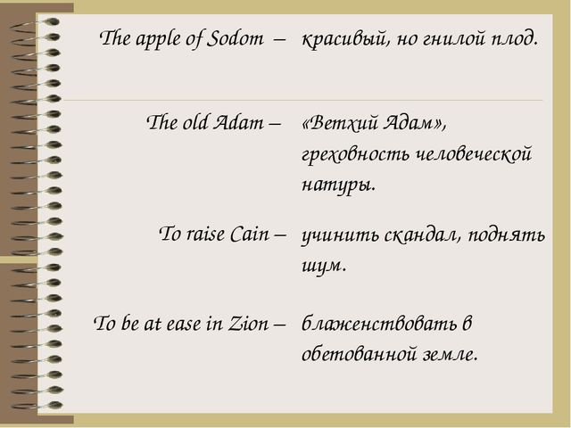The apple of Sodom– The old Adam – To raise Cain – To be at ease in Zion – кр...