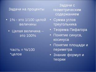 Задачи на проценты 1% - это 1/100 целой величины Целая величина – это 100% Су