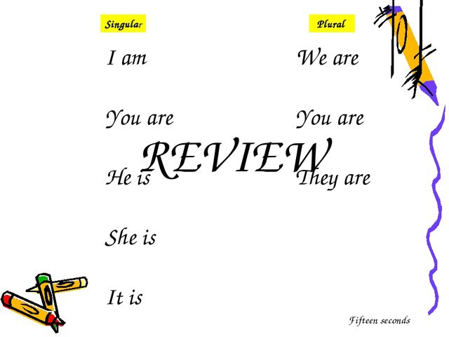 I am You are He is She is It is We are You are They are Singular Plural REVIE...