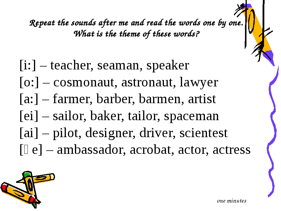 Repeat the sounds after me and read the words one by one. What is the theme o...